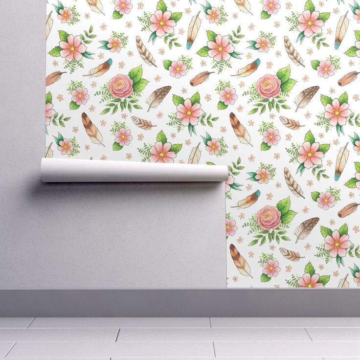 Isobar Durable Wallpaper featuring Feathers and Flowers - larger scale by hazel_fisher_creations | Roostery Home Decor Hand drawn repeating pattern design, drawn in pen and coloured with watercolours. #boho #feathers #flowers #watercolor