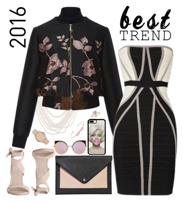 """Bomber Jacket & Bandage Dress"" by petalp ❤ liked on Polyvore featuring Oscar de la Renta, Elie Saab, Boohoo, Zimmermann, Fendi, Ted Baker, Burberry, dress and jacket"
