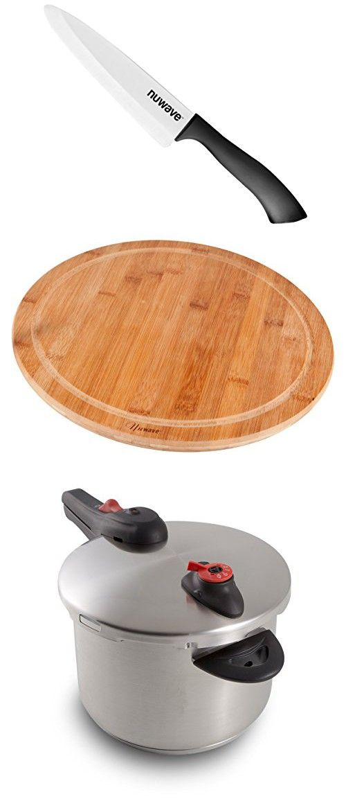 """Save Big On Stainless Steel Pressure Cooker 6.5-Quart from NuWave. Make Healthy Meals Fast And Easy. Get Bamboo Cutting Board and 5"""" Ceramic Knife Free."""