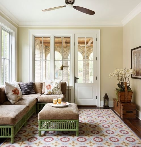 What does the paint color Benjamin Moore, Carrington Beige HC-93 look like?  See now?   Photo by Molly Quinn Design - Search traditional family room pictures