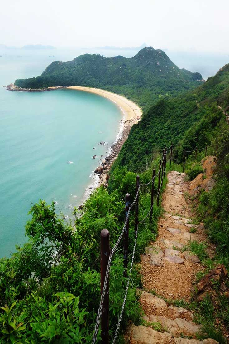 Escape from the hustle of central Hong Kong and Kowloon to Lantau Island. Here, hiking trails wind throughout nature and provide views of local beaches.