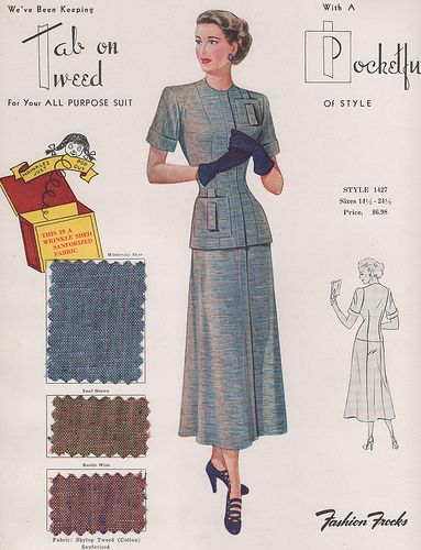 We've been keeping Tab on Tweed for your all purpose suit. Fashion Frocks 1949