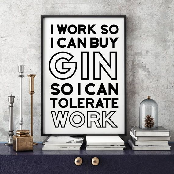 I Need Gin Typographic Print Kitchen Art Art by FuzzyandBirch