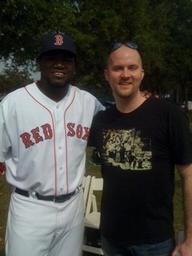 "With David ""Big Papi"" Ortiz at a commercial shoot in Ft. Meyers Florida."