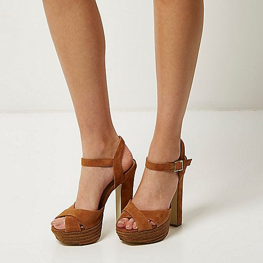 Brown suede espadrille platform heels - heeled sandals - shoes / boots - women