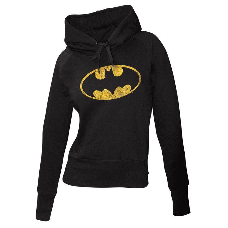 Sudadera chica con capucha Batman. Logo gastado