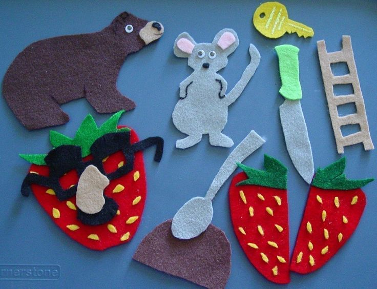 MOUSE STRAWBERRY and BEAR Children's Flannel by FunFeltStories, $11.00