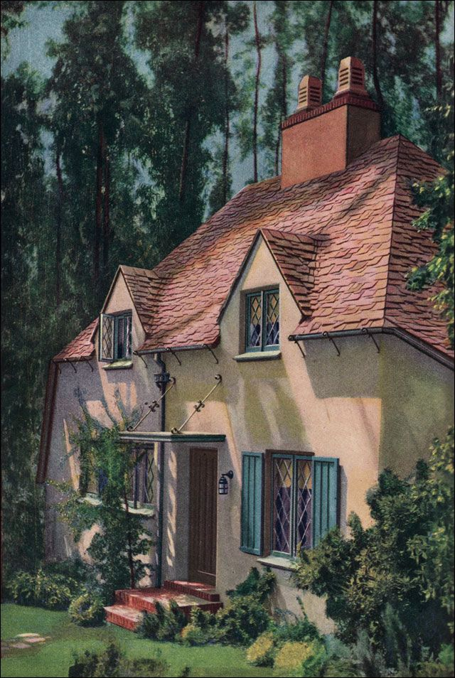 """French Provincial style cottage house plans - From 1928 """"Am. Builder Magazine"""" Darling exterior, but we could all die with the tiny kitchen & only one bath-& it's upstairs! Look at the plans- so interesting to see how things have changed in what we need & want."""