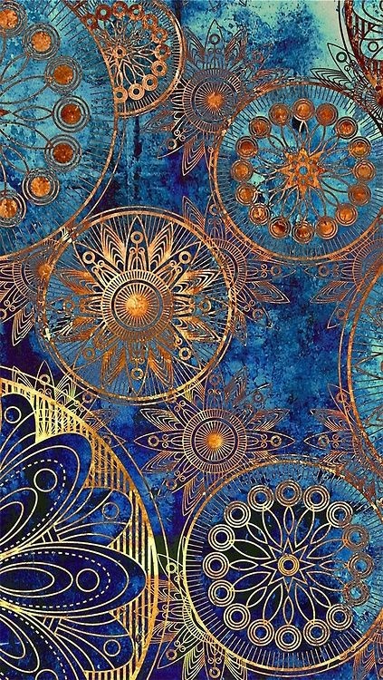 .Gorgeous mix of colours, textured, decorative print using circular structures.: