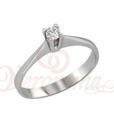 Μονόπετρo δαχτυλίδι Κ18 λευκόχρυσο με διαμάντι κοπής brilliant - MBR_003