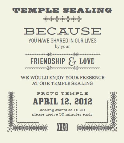 Temple Sealing Insert Wedding Invites Announcements