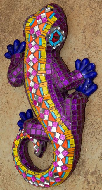 Glass mosaic on 3D ceramic lizard. R700.00  SOLD