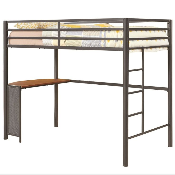 The Modern Loft Twin Loft Bed from Coaster, Co. offers a minimalist design with clean lines. Features a twin size bed frame with a durable tubular steel frame covered in a dark gunmetal gray finish for a modern, industrial look. Modern Loft Twin Loft Bed | Weekends Only Furniture and Mattress