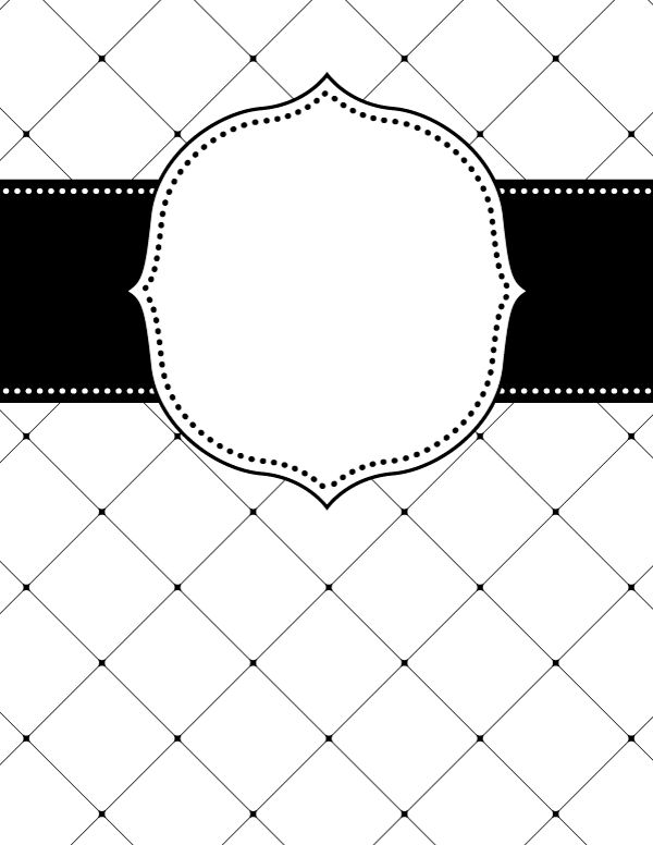 Free printable black and white lattice binder cover ...
