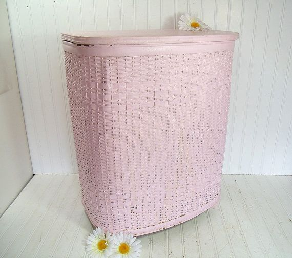 Pink Vintage Soft Rose Chippy Paint Wicker Metal Wood By
