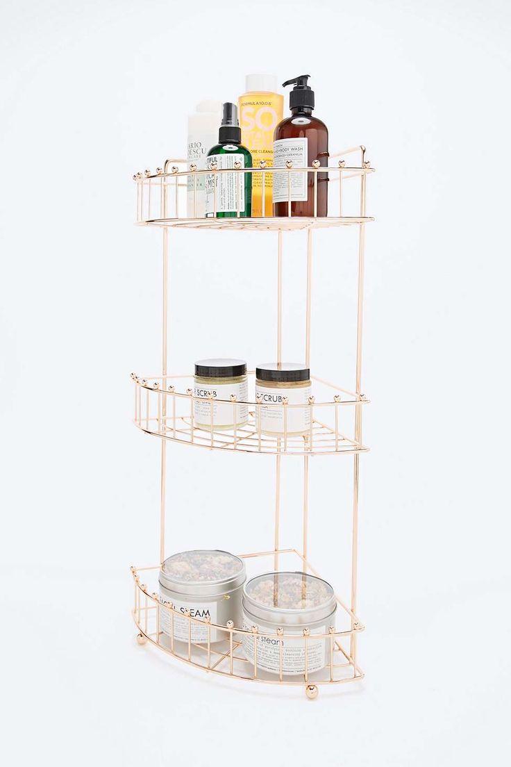 Corner Bath Shelf in Rose Gold