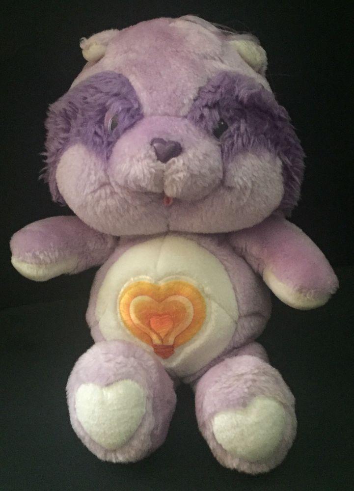 Vtg Care Bear Cousins Purple Raccoon Plush Stuffed Animal Toy 1984  | eBay