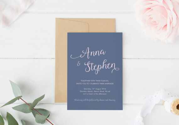 This is a clean and modern invitation, perfect for couples who want something more contemporary for their wedding stationery.  The design is printed on high-quality paper and can be paired with either kraft or white textured envelopes. The invitation colours can be changed to suit your wedding colours.  Matching Save the Date https://www.etsy.com/uk/listing/498311175/modern-save-the-date-typography-save-the?ref=shop_home_active_9  Matching Thank You Card htt...