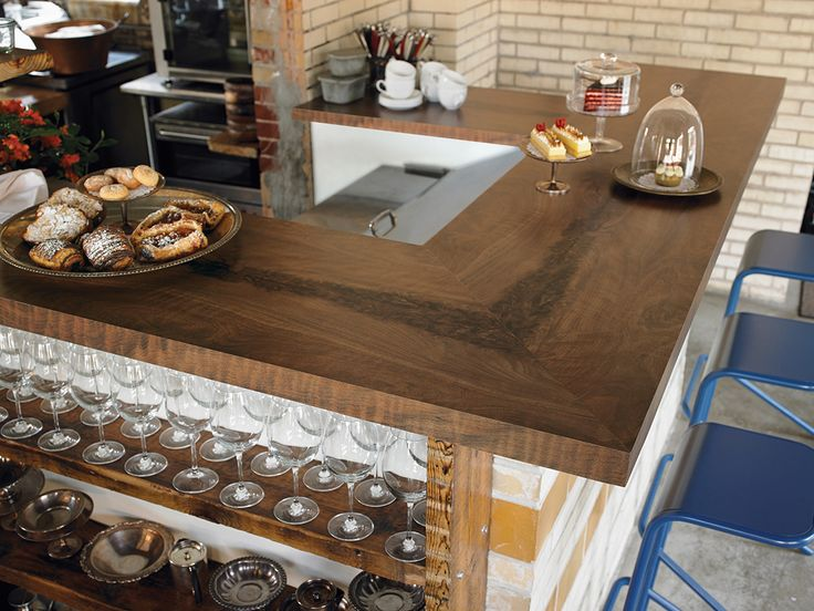 180fx by Formica - 3479 Black Walnut Timber is beautiful as a countertop in this cafe