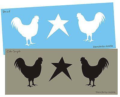 "STENCIL 4"" galo galinha estrela país primitivo cozinha sinais Wall Art borda"