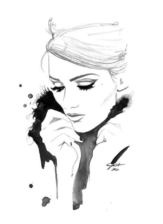 Drucken Sie aus original Aquarell und Kohle Mode-Illustration von Jessica Durrant unter dem Titel erinnere ich mich an Sie