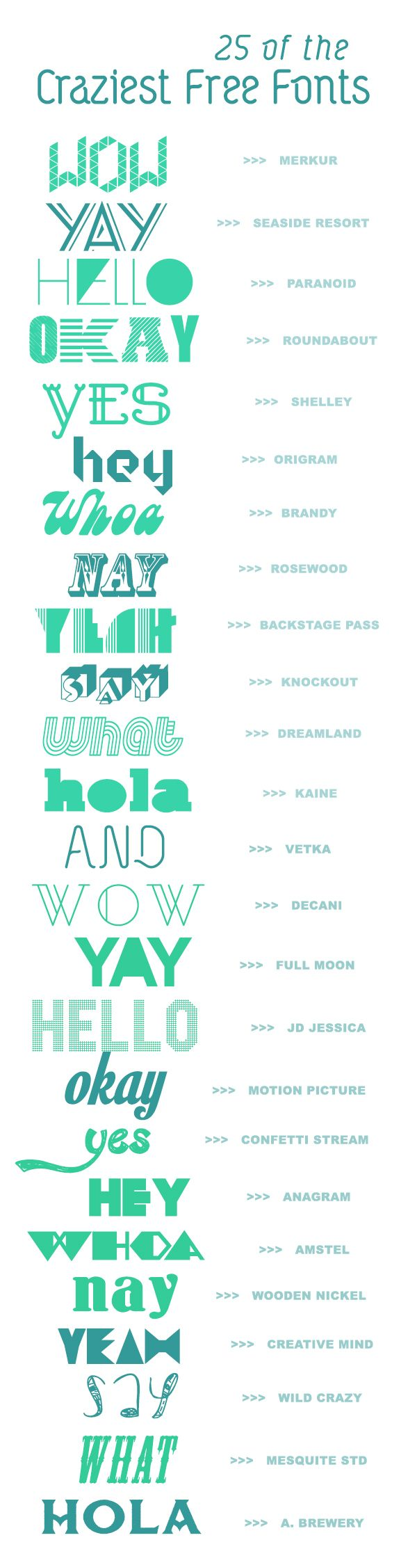 25 Crazy Creative Fonts (for free!)   A Subtle Revelry