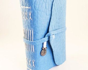 Small Blue Owl Pocket Journal- artist's sketchbook, handmade diary, leather notebook