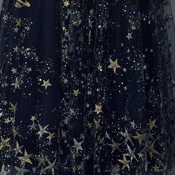 Gold Stars on black net, overlay for dress skirt