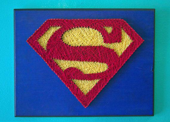 String Art Superman by LeynaRosePhotography on Etsy