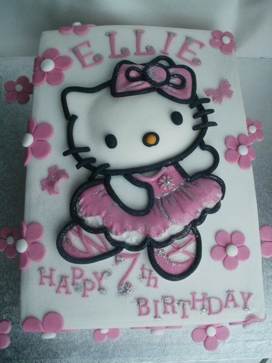 Image Detail For Hello Kitty Birthday Cake With Pink Flowers