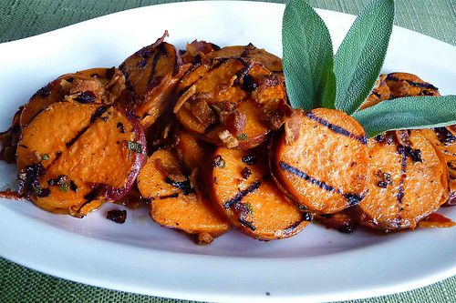 Grilled Sweet Potatoes with Pancetta & Sage Vinaigrette Recipe