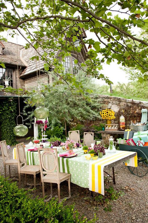 BRIDAL SHOWER by Colin Cowie Weddings! A Bridal Shower Where Elsa Schiaparelli meets Alice in Wonderland. Even the trees were accessorized: budget-friendly hanging lanterns   complete the décor.