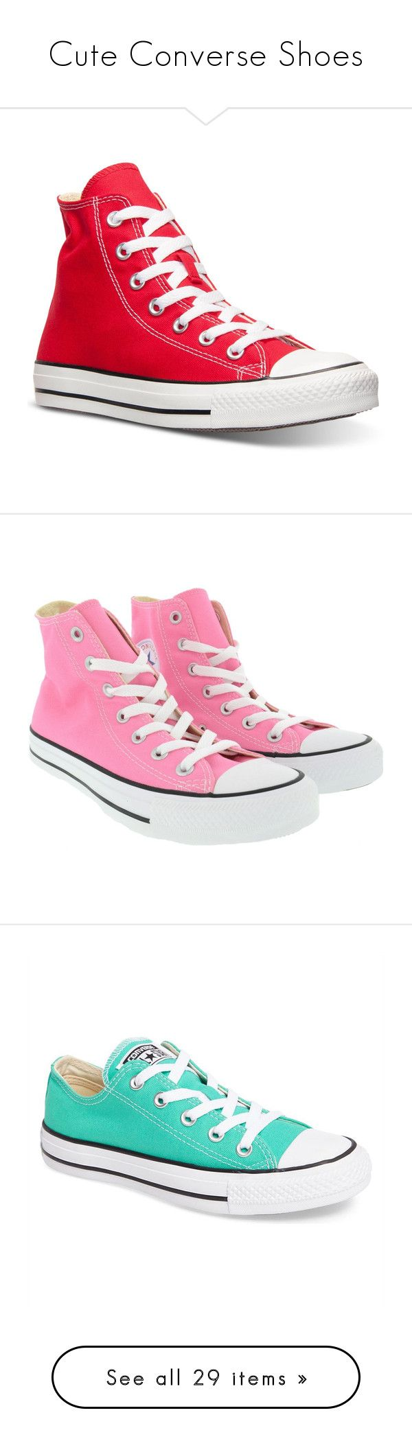 """Cute Converse Shoes"" by english-thea ❤ liked on Polyvore featuring shoes, sneakers, converse, tennis shoes, 18. converse., red, red trainers, high top tennis shoes, converse high tops and red high tops"
