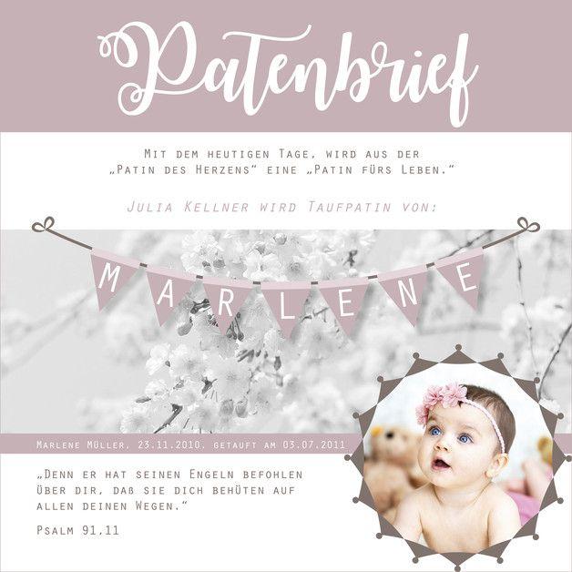 Personalisierter Patenbrief mit Rahmen Wimpel Individuelles Geschenk für den Taufpaten oder die Taufpatin: Hauptfarbe Altrosa. (Bitte bei der Bestellung Vorname, Nachname, Zweitname,...