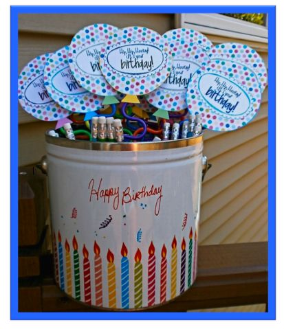 Too cute Happy Birthday balloons taped to silly straw (6 in one pack at dollar store for just $1) Just visit this site http://crayonsandlessonplans.blogspot.com/ for the printable balloons!