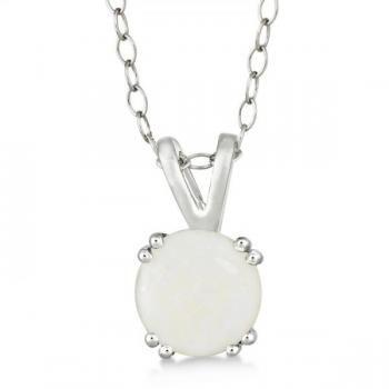Round Opal Solitaire Pendant Necklace Sterling Silver (0.80ct)-Allurez.com