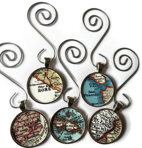 CUSTOM map ornament charms, map ornaments for the holiday personalized with a favorite location on Etsy, $14.95