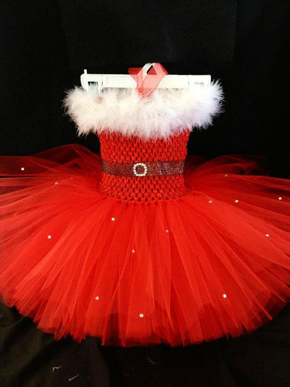 Santa Tutu Dress, Christmas crochet tutu dress, Santa's Little Helper Red tutu dress on Etsy, $40.00