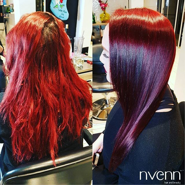 we took her from washed out fire engine RED to this beautiful BURGUNDY    this beautiful color is just perfect for fall! we love it!    #nvenn #nvenncutandcolor #bbloggers #yeghair #yychair #hairbeauty #salonpro #hairpro