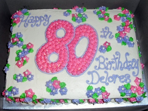 Dutch chocolate 80th Birthday cake with buttercream frosting- Cloud 9 Confections, Tampa FL