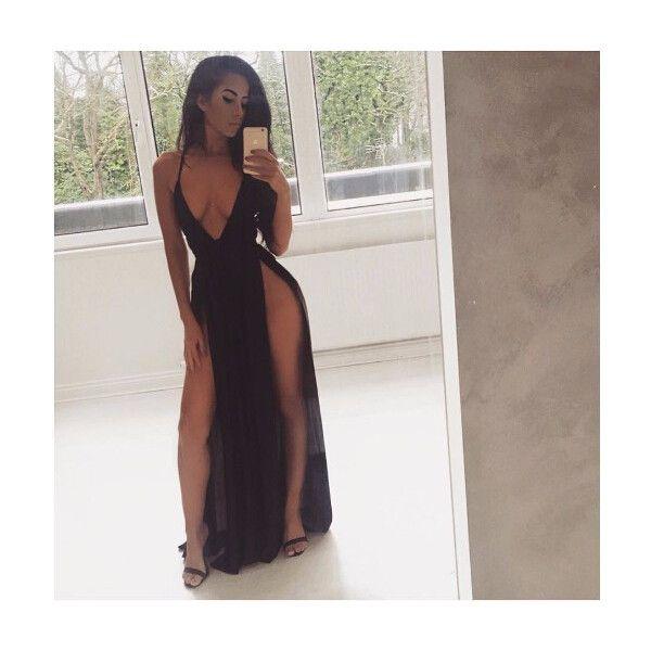 Catalina Double Slit Maxi Dress ($39) ❤ liked on Polyvore featuring dresses, maxi dresses, double slit dress, maxi length dresses and double slit maxi dress