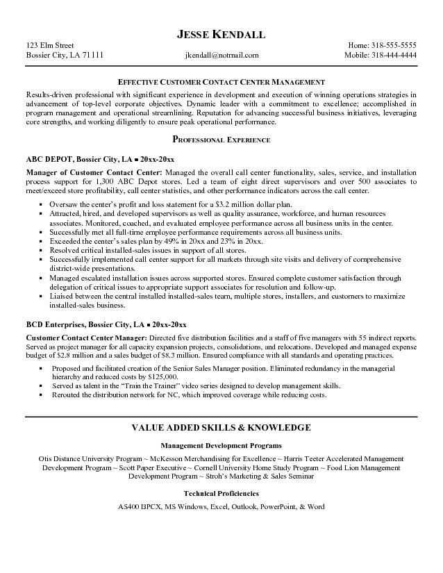 Call Center 4-Resume Examples Manager resume, Free resume