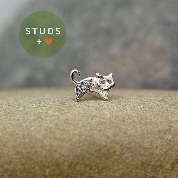CARTILAGE french CAT sterling silver/ cartilage by StudsEarrings, $15.95