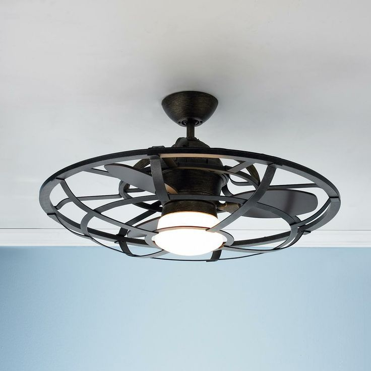 Caged ceiling fan black ceiling fan ceilings and Industrial style ceiling fans