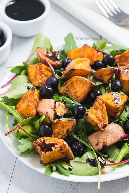 Paleo and Vegan Cinnamon Roasted Sweet Potato Blueberry Salad with Balsamic Reduction from WhittyPaleo.com
