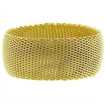 14k Gold Bonded Wide Mesh Bracelet in Goldtone glitzs.com. $26.40