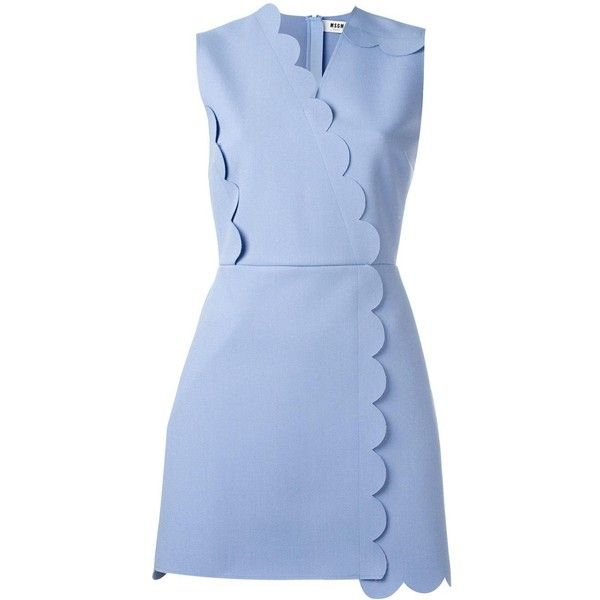 MSGM scalloped detail dress ($300) ❤ liked on Polyvore featuring dresses, blue, scallop trim dress, msgm, scalloped dress, blue dress and scallop hem dress