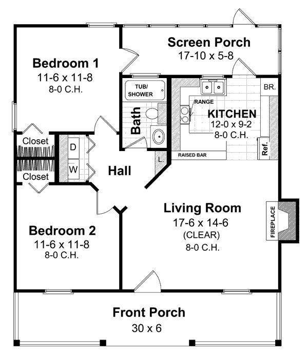 Cottage Style House Plan 2 Beds 1 Baths 800 Sq Ft Plan 21 169 Cottage Style House Plans House Floor Plans House Plans One Story