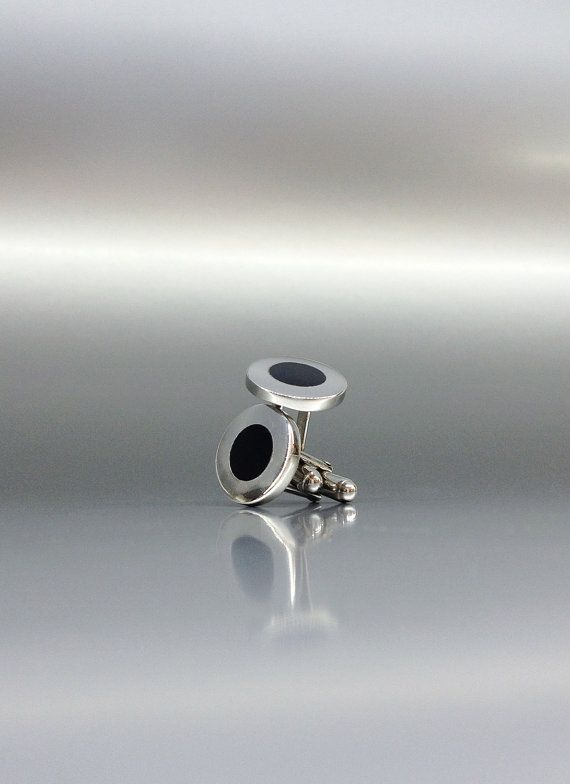 Elegant Onyx cuff links with perfect Sterling silver inlay work by gemoryprague. Explore more products on http://gemoryprague.etsy.com