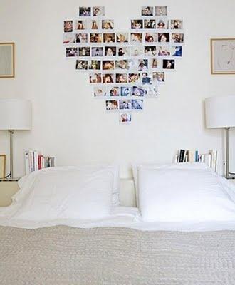 Photos shaped into a heart, nice for bedroom art #mustdo